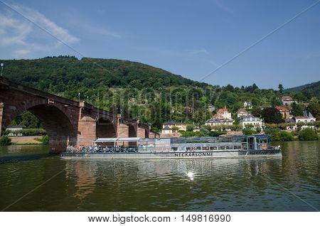 HEIDELBERG, GERMANY - SEPTEMBER 15: The sightseeing boat Neckarsonne at the river Neckar in the german city Heidelberg  on September 15, 2016.