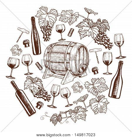 Set of sketch wine icons in circle shape background. Template for packaging cards posters and menu. Vector stock illustration.