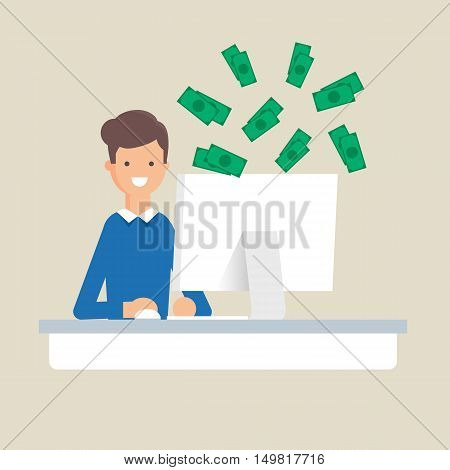 Earnings in the Internet, online earning vector illustration