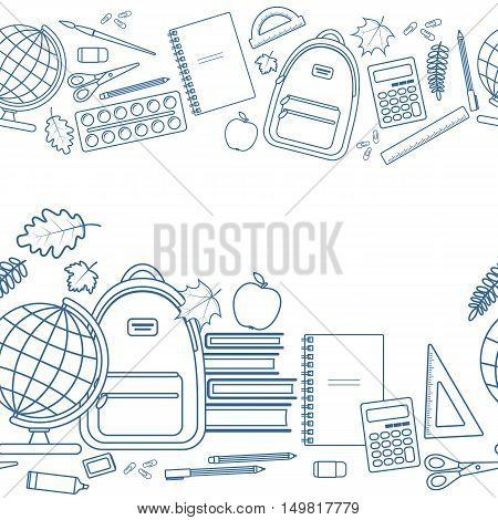 Horizontal seamless borders of colorful items for education. Back to school lettering. Vector stock illustration.