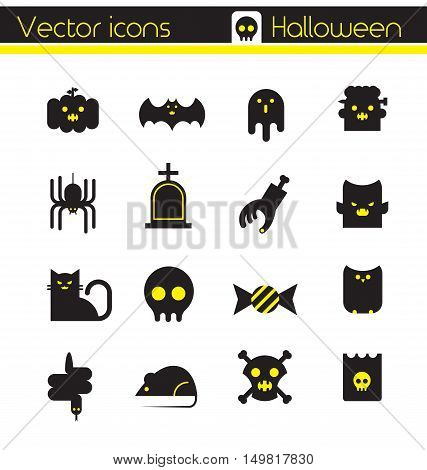 The Halloween character set,Silhouette icon, Vector icons