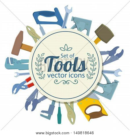 Circle shape template with repair tools icons for packaging cards posters menu. Vector stock illustration.