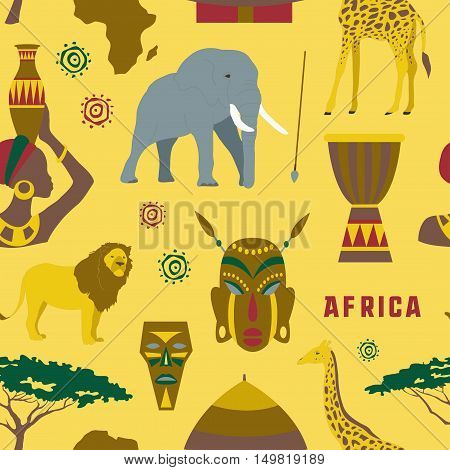 Colorful Africa icons set pattern. Vector illustration, EPS 10