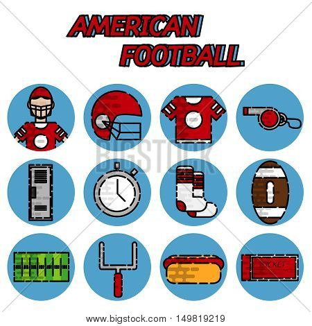 American football flat icons set. Helmet and sport, touchdown and quarterback, trophy game. Vector illustration