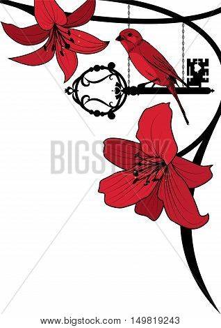 vector background with old key bird and lily in black and red