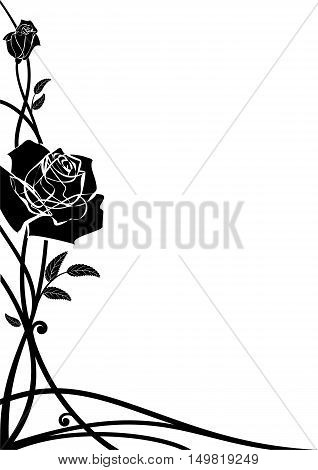 vector floral border with roses for corner design in black and white