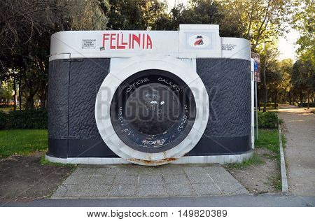 RIMINI ITALY - OCTOBER 12 2013: A monument in the form of a camera located in Federico Fellini park.