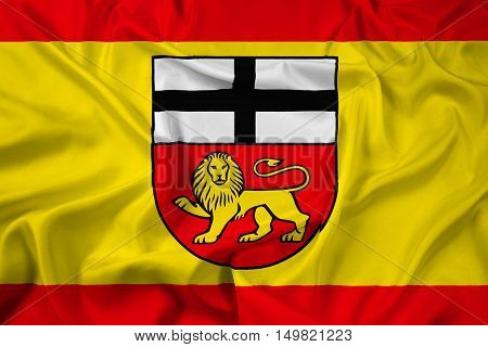 Waving Flag of Bonn Germany, with beautiful satin background. 3D illustration