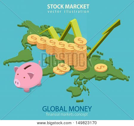Business audit, financial analytics, statistics flat isometric vector concept. Chart world map in the background with money tower and piggy bank.