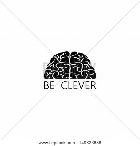 Black human brain silhouette with text isolated on white