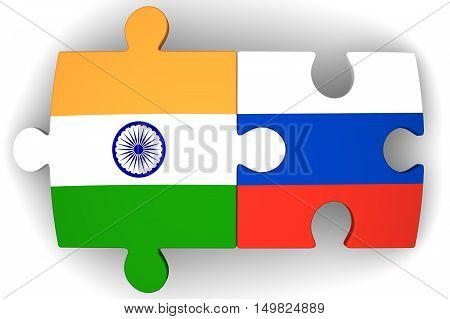 Cooperation between the Russian Federation and India. Puzzles with flags of the Russian Federation and India on a white surface. The concept of coincidence of interests in geopolitics. Isolated. 3D Illustration