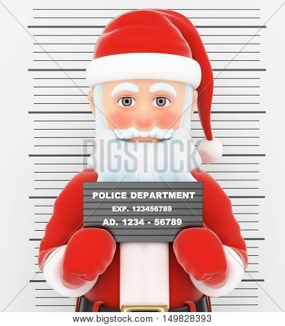 3d christmas people illustration. Santa Claus arrested. Criminal police photo. Isolated white background.