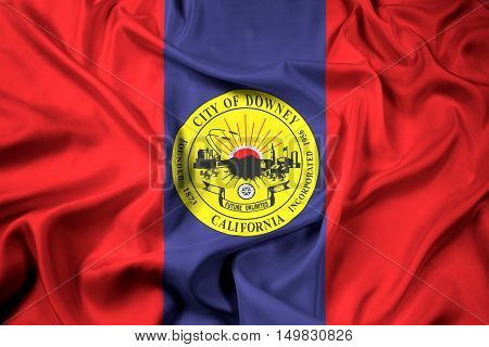 Waving Flag of Downey California USA, with beautiful satin background. 3D illustration