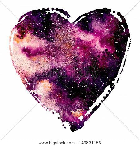 Watercolor Bright Purple Nebula in Heart Isolated on a White Background