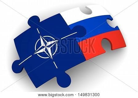 Cooperation between the Russian Federation and NATO. Concept. Puzzles with flags of the Russian Federation and NATO on a white surface. Isolated. 3D Illustration