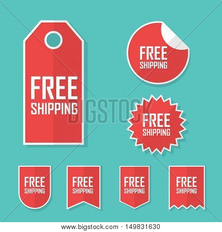 Free shipping sticker. Transport cost delivery no charge. Modern flat design, red color tag. Advertising promotional price label. Eps10 vector illustration.