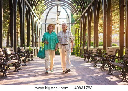 Senior couple walking and smiling. People in park alley. Wonderful day for a walk. Valuable moments of life.