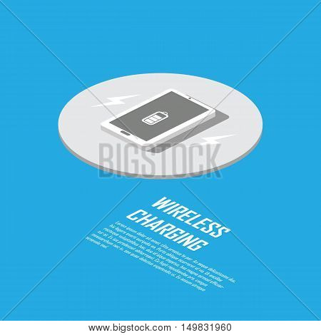 Wireless charging concept for smart technology. Smartphone  charger without cable. Eps10 vector illustration.