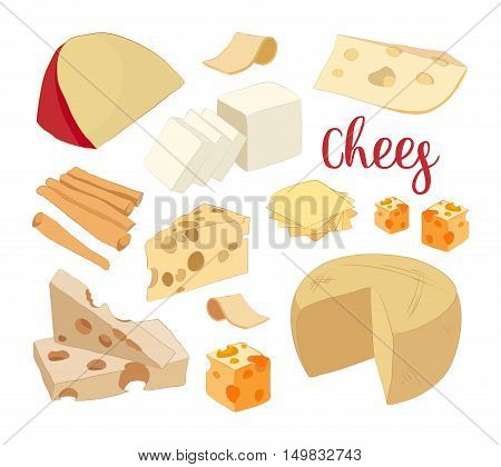 Hand drawn set of chees. Food illustration of parmesan, gouda, blue, edammer, maasdam, brie, mozzarella, roquefort camembert and other