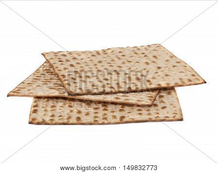 Three matzot on white background. Matzo - jewish passover bread within pottle