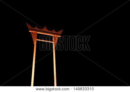 Sao Ching Cha(Giant swing) in Bangkok at night