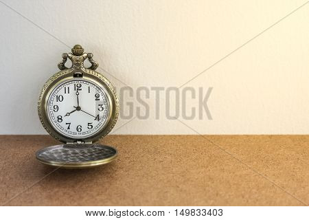 Luxury Vintage Black Pocket Watch On Wood Table, Abstract For Time Concept With Copy Space