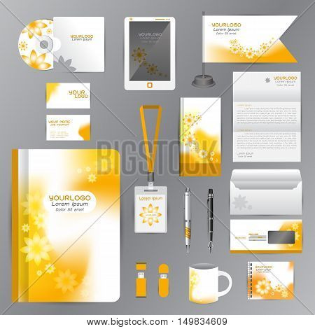 White identity template with Yellow Flower origami elements. Vector company style for brandbook guideline and Pens mugs CDs books business cards letterhead flag Card Portfolio employees Tablet