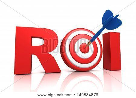 return on investment - roi  isolated on white background 3d illustration