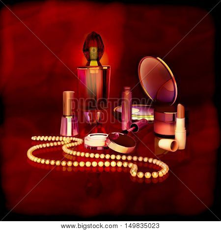 Set of cosmetics and accessories for women on gold. 3D illustration