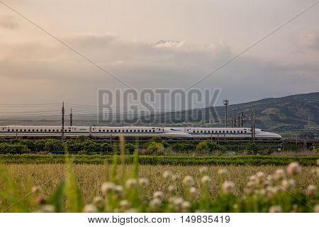 Shizuoka - MAY 15 : Shinkansen bullet train and Mountain Fuji on May 15 2016