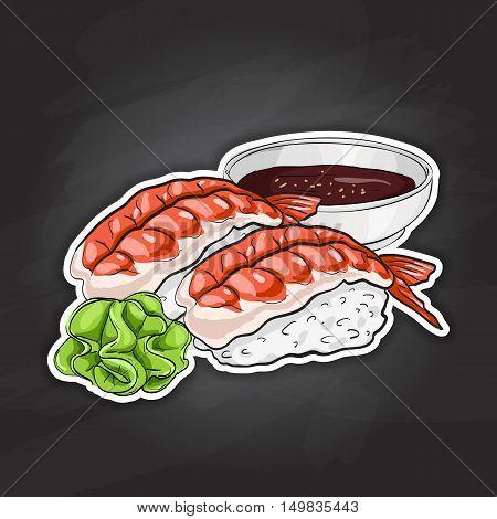 Vector color sticker, Ebi Nigiri Sushi on black background. Sushi symbol stock vector illustration.