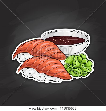 Vector color sticker, Sake Nigiri Sushi on black background. Sushi symbol stock vector illustration.