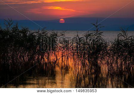 Beautiful sunset over the lake of Iznik