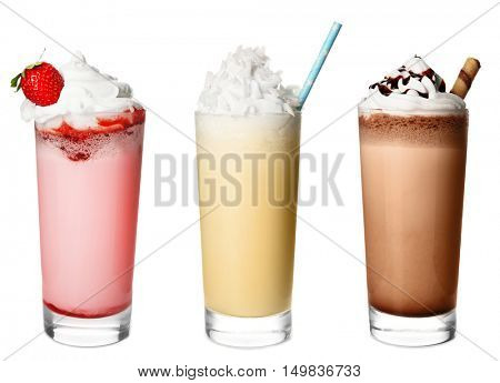 Delicious milkshakes, isolated on white