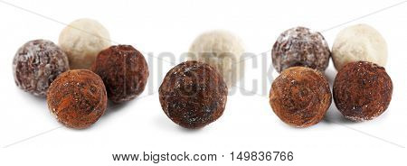 Collage of delicious chocolate candies on white background