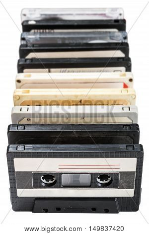 Old Cassette tapes isolated on white background. Focus on 2-3 tape