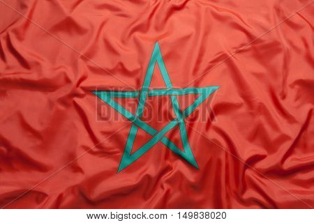 Textile national flag of Morocco for background