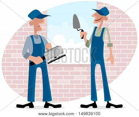 Vector illustration of a two workers near window