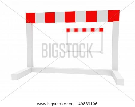 Two Hurdles 3d illustration on a white background