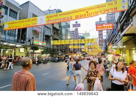 BANGKOK, THAILAND - SEPTEMBER 25, 2016 : Chinese Vegetarian Festival on Yaowarat Road, celebration which takes place during the first nine days of the ninth lunar month of the Chinese calenda.