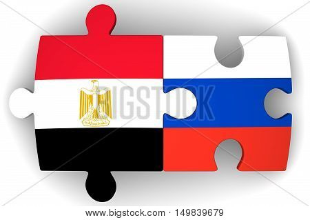 Cooperation between the Russian Federation and Egypt. Puzzles with flags of the Russian Federation and Egypt on a white surface. The concept of coincidence of interests in geopolitics. Isolated. 3D Illustration
