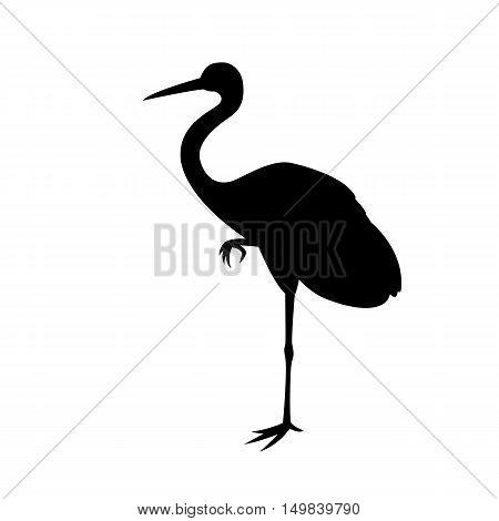 bird crane vector illustration  silhouette black profile