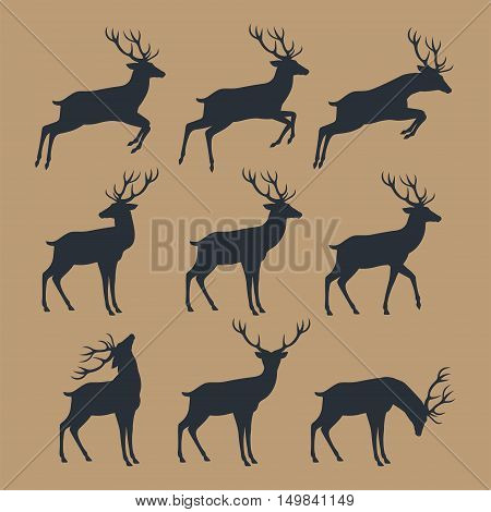 Deer silhouette set. Deer Silhouette Collection Original. Vector Illustration