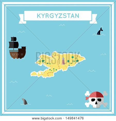 Flat Treasure Map Of Kyrgyzstan. Colorful Cartoon With Icons Of Ship, Jolly Roger, Treasure Chest An