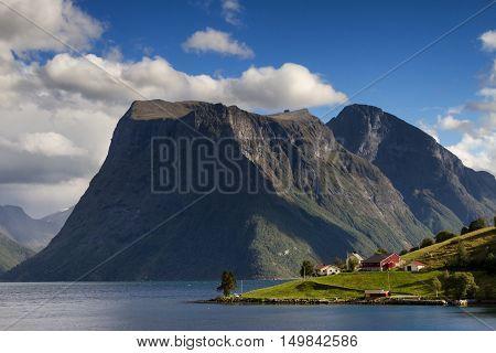 Slogen mountain range at Hjorundfjord Fjordland Norway