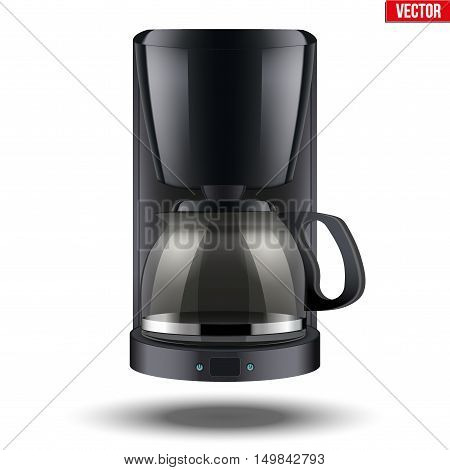 Classic Drip Coffee maker with glass pot. Black color and Original design. Editable Vector illustration Isolated on white background.