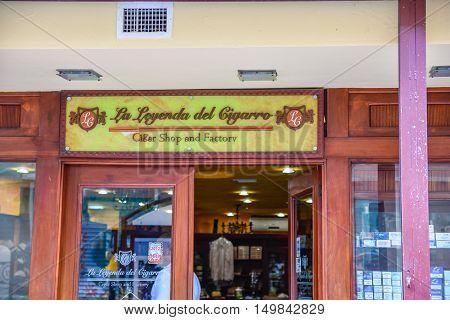 SANTO DOMINGO, DOMINICAN REPUBLIC - January 24: Street view of Calle el Conde, La Leyenda del Cigarro, Colonial Zone. Taken in January 24, 2016 in Santo Domingo, Dominican Republic.