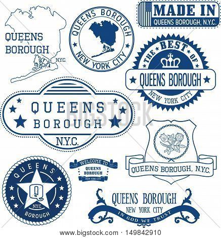 Generic Stamps And Signs Of Queens Borough, Nyc