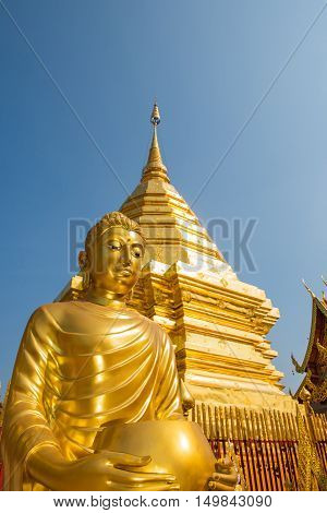 Buddha statue at Wat Phrathat Doi Suthep temple in Chiang Mai Thailand.