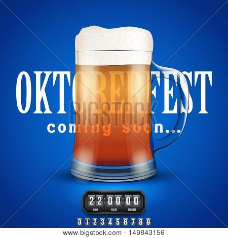 Octoberfest Coming soon poster. Beer mug and counter. Vector Illustration
